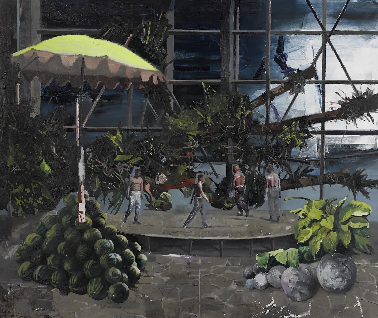 deschidere mare, Untitled (sundial melon cannon ) 160 x 190 cm, oil on canvas , 2016,
