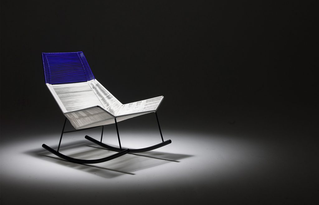 Rocking Chair, Sergio Vergara, dark blue and white