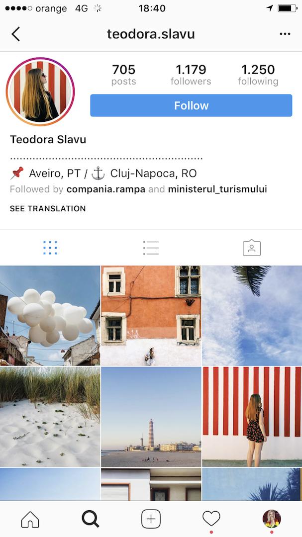 Teodora Slavu Insta account