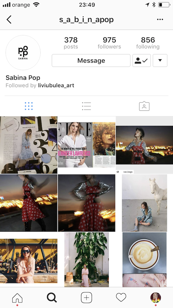 Sabina Pop, Instagram