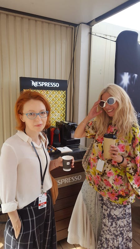 Cu Cristina Bazavan, partenera mesa de filme de la TIFF, iunie 2018. Faceam un refill de Nespresso.