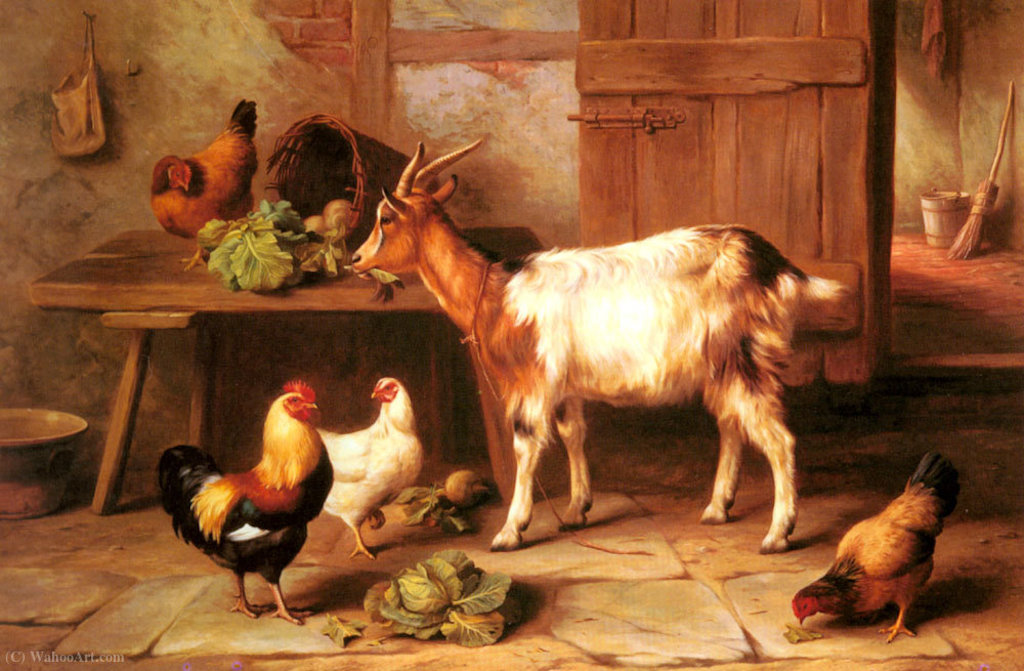 Edgar_Hunt-Goat_and_chickens_feeding_in_a_cottage_interior