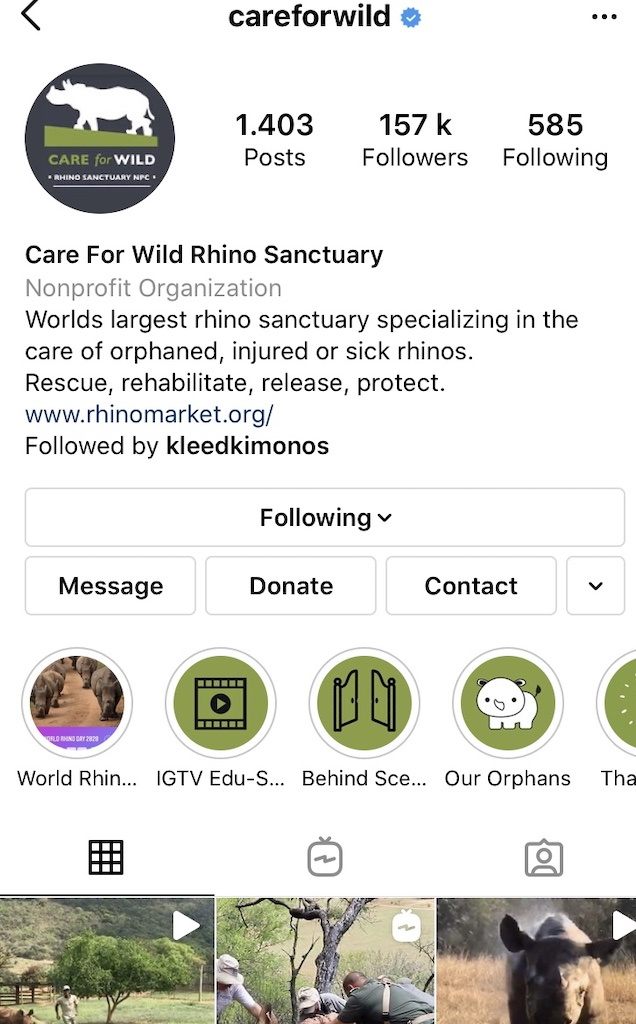 Care for Wild Instagram